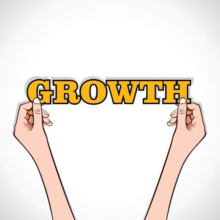 growth word sticker in hand stock vector Stock Vector - 17108302