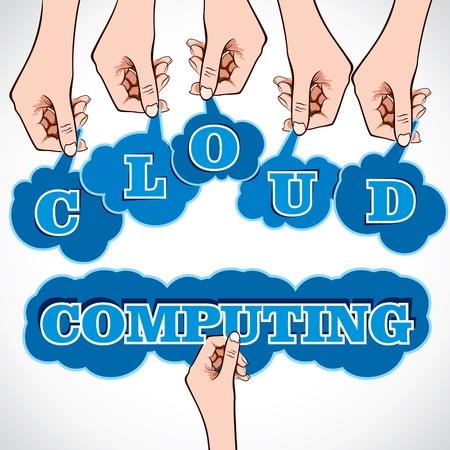 cloud computing word in hand stock vector Stock Vector - 17108310