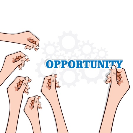 try: opportunity word in hand stock Illustration