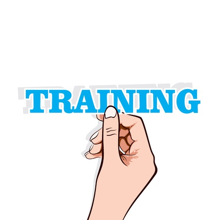 training word sticker in hand stock vector Stock Vector - 17108296