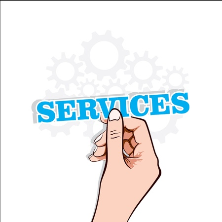 services sticker in hand stock vector Stock Vector - 17108300