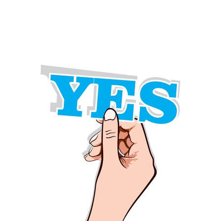 yes word sticker in hand stock vector Stock Vector - 17108297
