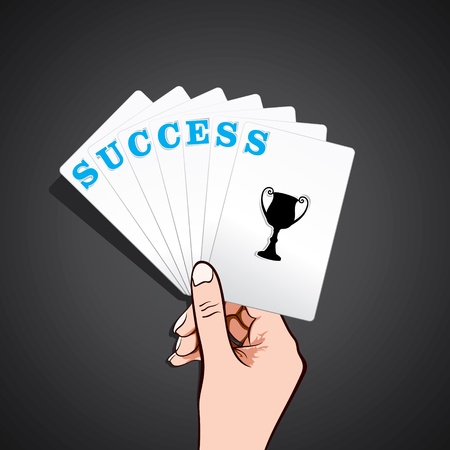 success playing card in hand stock vector Stock Vector - 17108303