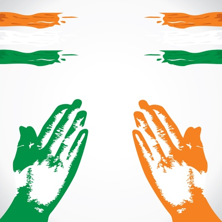 praying in hand india flag color stock vector Stock Vector - 17093391