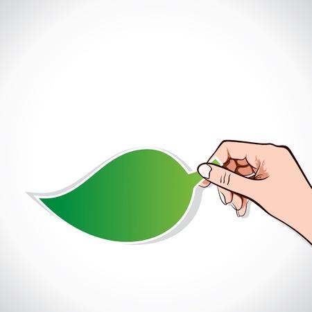 green leaf sticker in hand stick vector