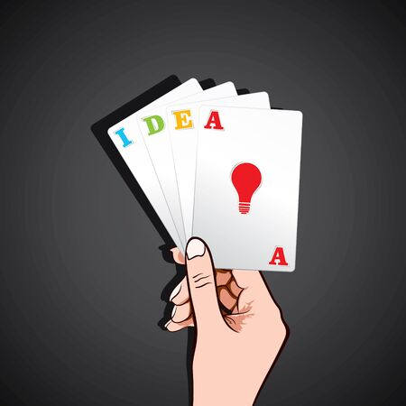 games of chance: playing card in hand with ide concept