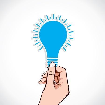 irradiation: blue bulb sticker in hand  stock vector