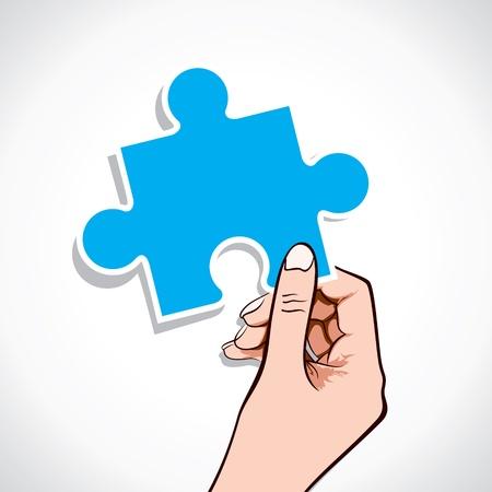 puzzle piece in hand stock vector Stock Vector - 17108215