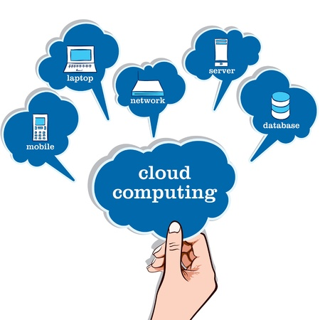 synchronizing: cloud computing concept stock vector