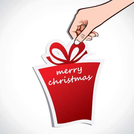 merry christmas gift in hand stock vector Stock Vector - 17107785