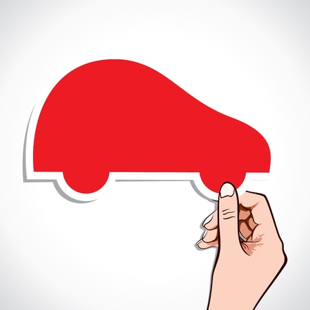red car sticker in hand stock vector Stock Vector - 17107771