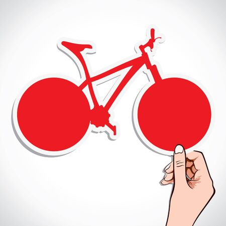 pedal: red bicycle sticker in hand stock vector