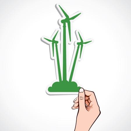 green windmill sticker stock vector