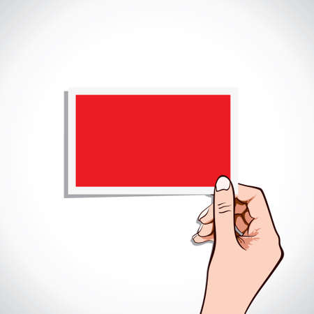 woman credit card: blank red card in hand stock vector