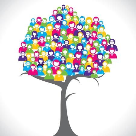 corporate social: colore imprenditori albero stock vector