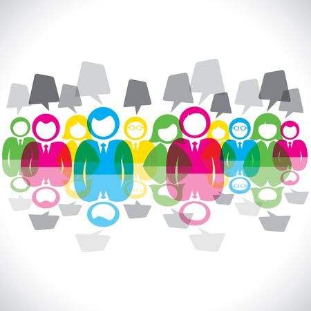 color businessmen meeting message bubble stock vector