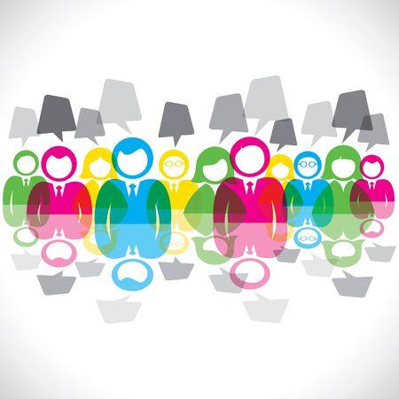 Farbe Geschäftsleute Treffen Sprechblase Vektorgrafik Illustration