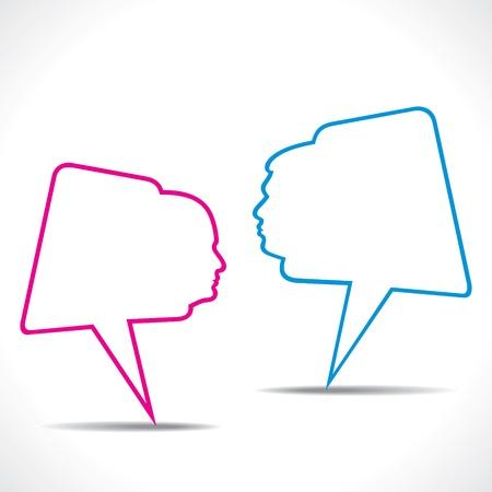 speak out: men women message bubble stock vector