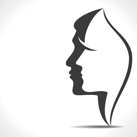 taglio capelli: uomini donne volto Vettoriali