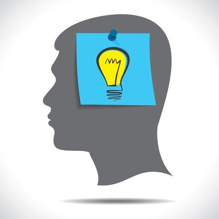 eureka: new idea bulb paper note in human head