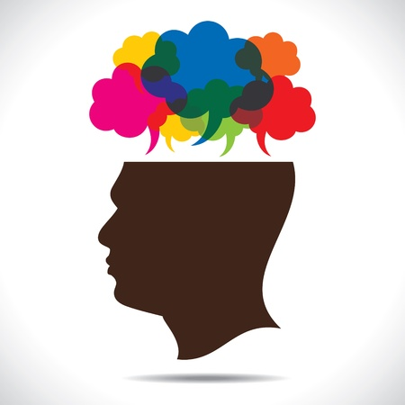 thought: message bubble in human head stock vector