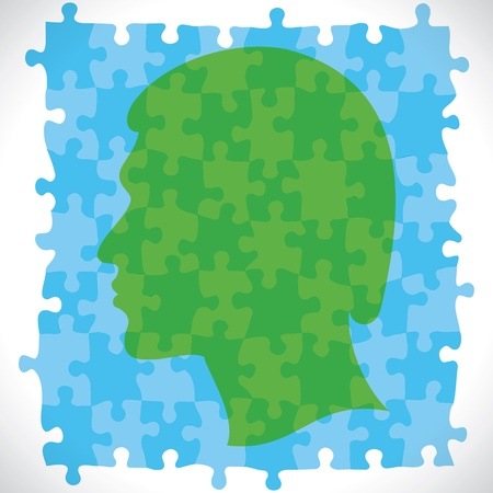 puzzle piece design human head stock vector Vector