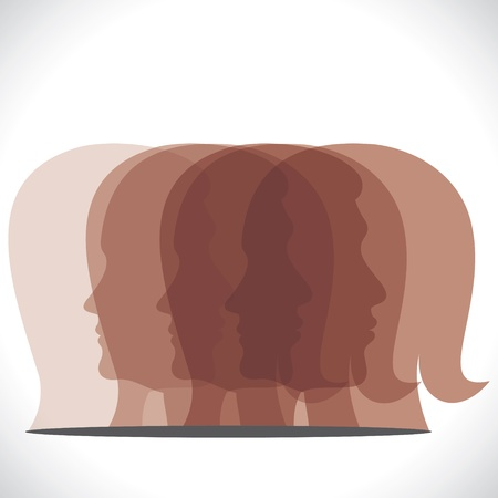 brown men women head icon Stock Vector - 17763211