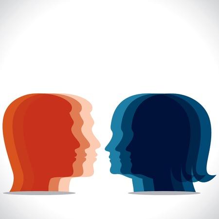 color men women head icon Stock Vector - 17763402