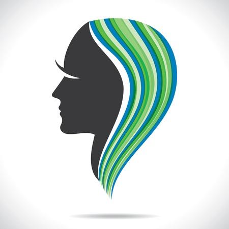 perfil de mujer rostro: mujeres hermosas con stock vector colorido del estilo del pelo