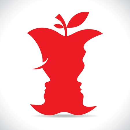 vie �tudiante: les hommes et les femmes face � rouges d�coupe pomme stock vecteur