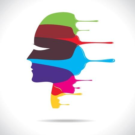 visage peint: color�es peintes de belles femmes face � vecteur stock