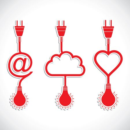 creative icon design of heart and cloud with plug and bulb Vector