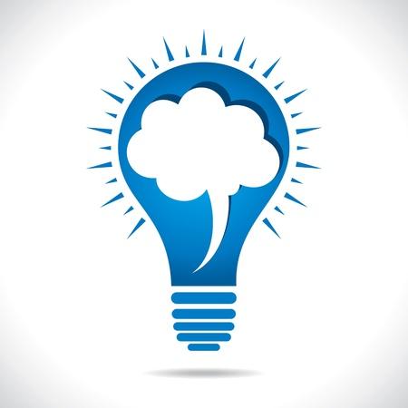bulb: blaue Lampe mit Sprechblase Konzept stock vector Illustration