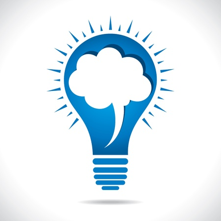 conceptual bulb: blue bulb with message bubble concept stock vector