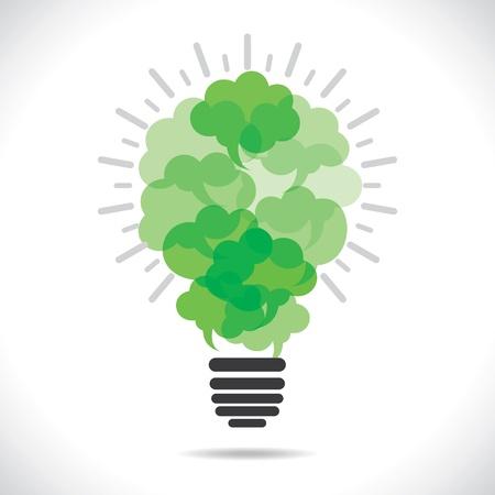 할로겐: 친환경 메시지 거품을 만드는 전구 개념 stock 벡터
