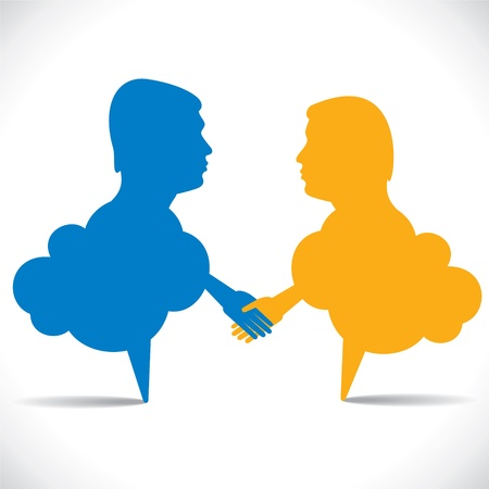 people like message bubble hand shake stock vector Stock Vector - 17763327