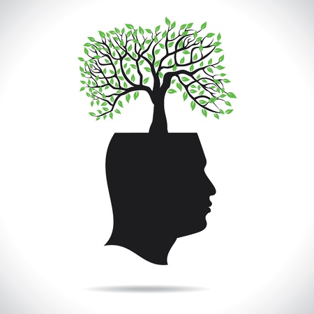 personal growth: green tree on head human head stock vector