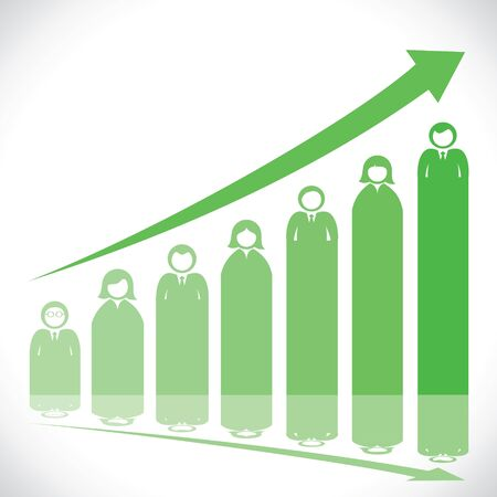 stock market graph: green business people stock market graph stock vector