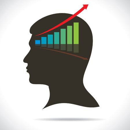 equity: market graph in human head stock vector