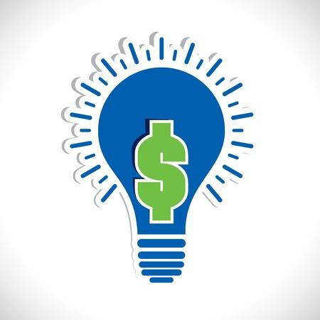 green dollar in bulb stock vector Stock Vector - 17763333