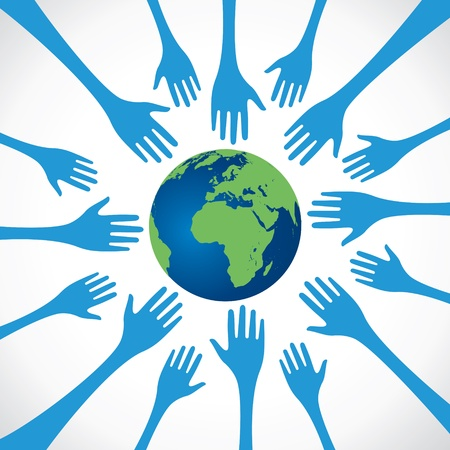 every hand save the earth stock vector Stock Vector - 17762943