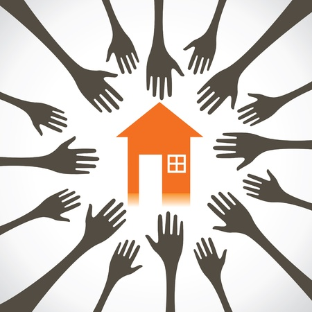 every: every hand try to catch the house stock vector