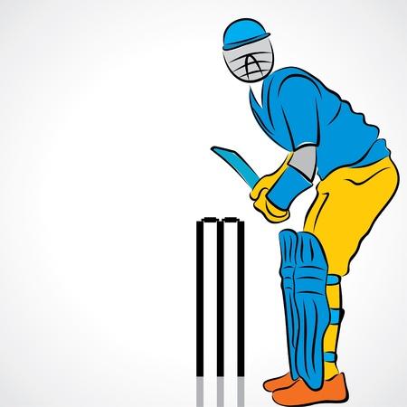 creative shot: cricket player stock vector Illustration