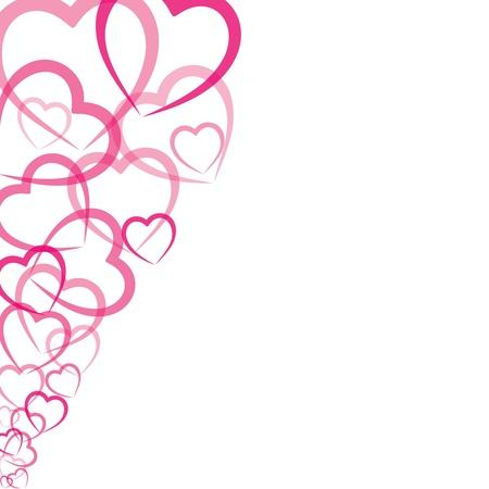 rosa Herzen Grusskarte Vektorgrafik