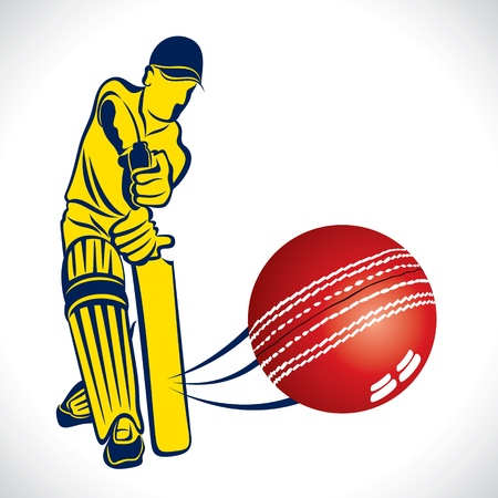 cricket player hit the ball stock vector
