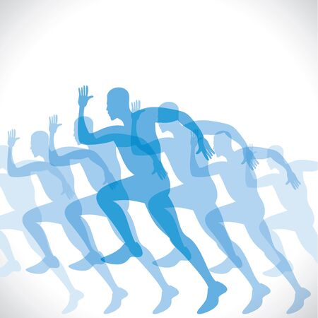 blue men runner stock vector Vector