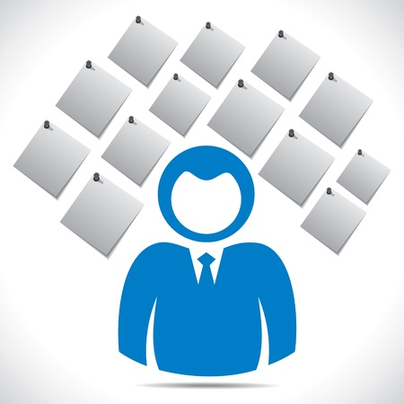 multitask: businessmen with paper note stock vector