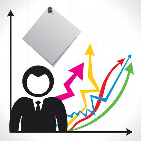 businessperson: businessmen and background with market graph Illustration