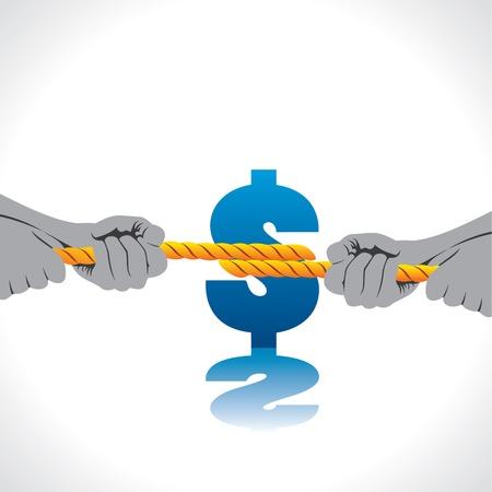 fight for money stock vector Illustration