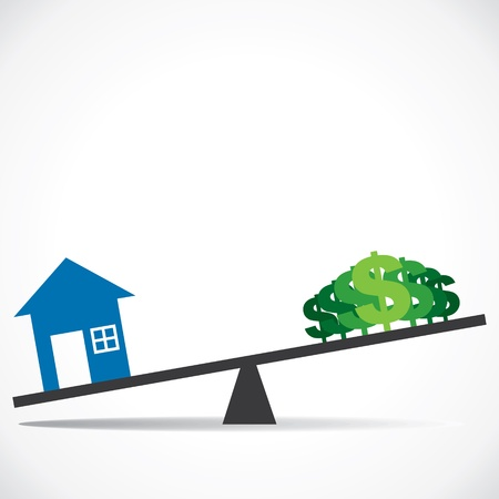 compare: cost of house increases  concept stock vector
